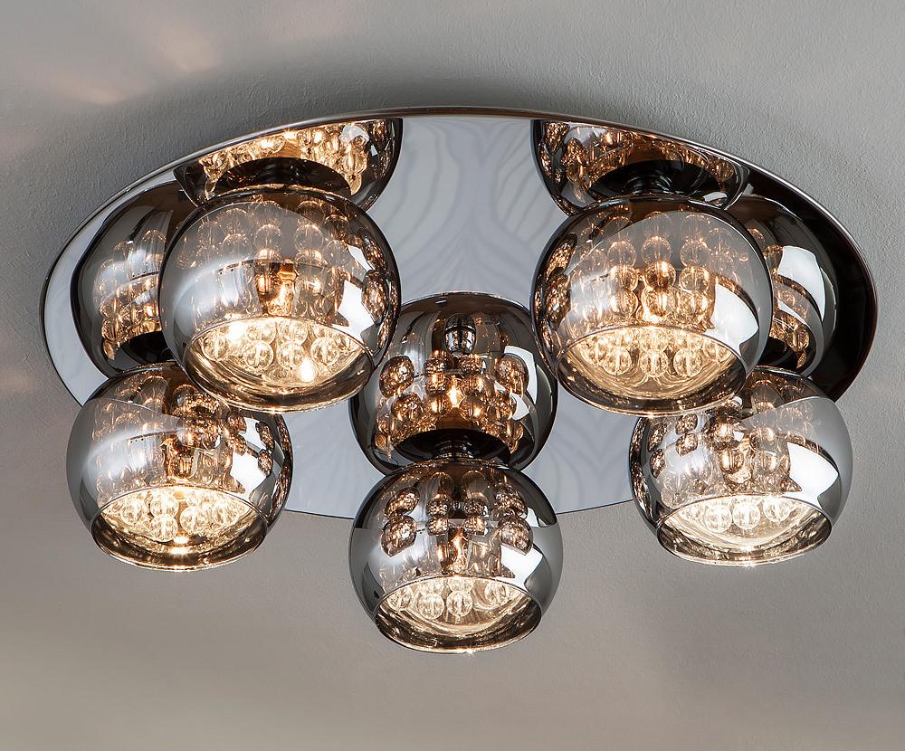 Designer Smoked Glass Round Ceiling Light
