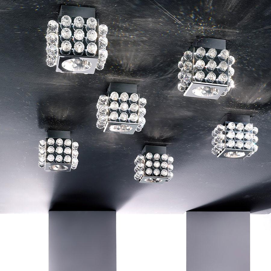 Contemporary Steel Swarovski Crystal Ceiling Light